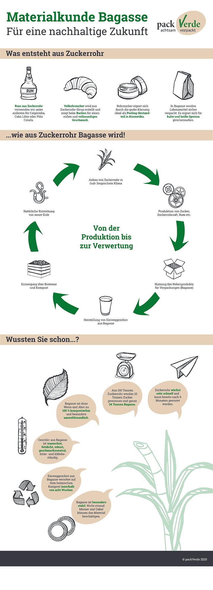 Vom Zuckerrohr zur Salatschale - Die Bagasse-Infografik von packVerde